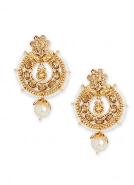 Stone Work Earrings In Gold