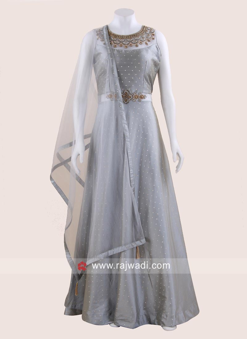 Embroidered Long Gown with Dupatta