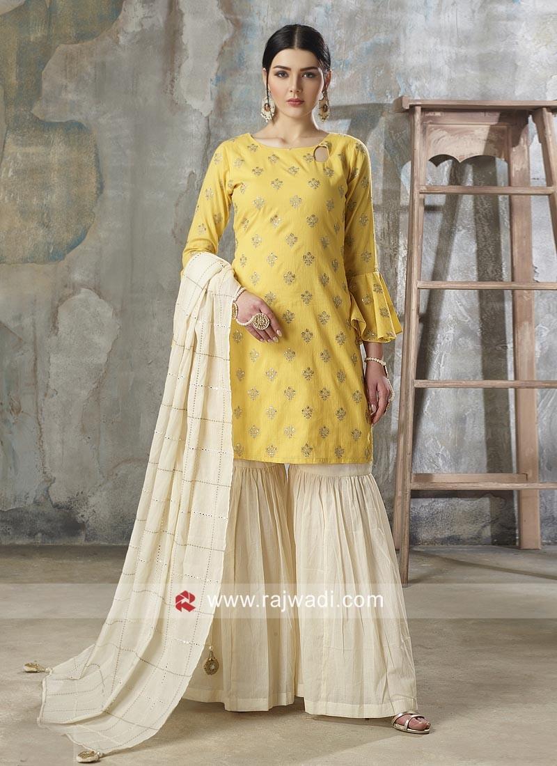 Cotton Gharara Salwar Kameez in Yellow