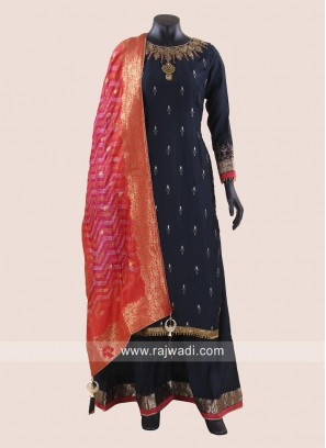 Eid Special Navy Blue Palazzo Suit