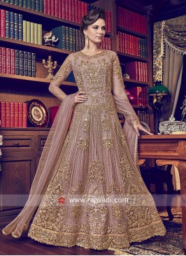 Attractive Net Light Peach Anarkali Suit