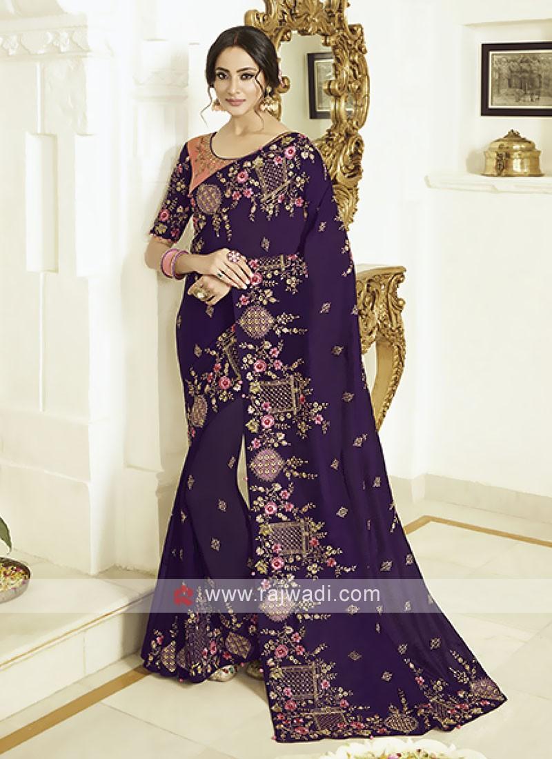 Elegant Art Silk Purple Saree
