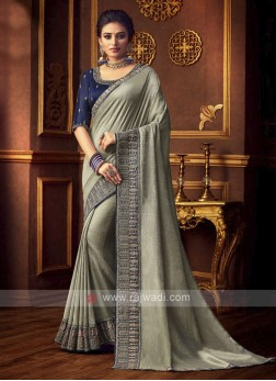 Elegant Art Silk Saree In Grey