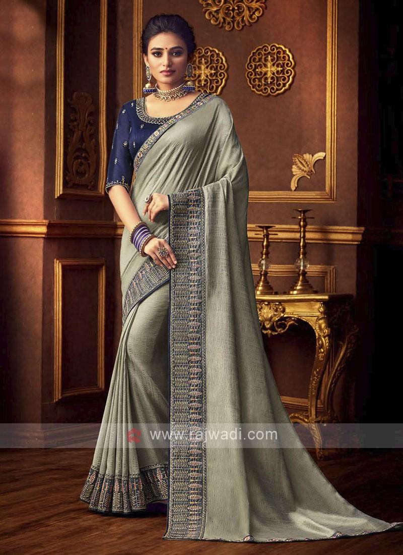 Elegant Art Silk Saree In Grey