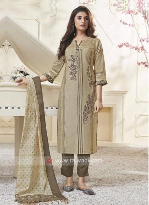 Shagufta Elegant Beige Color Pant Salwar Suit