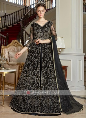 Elegant black color net salwar suit