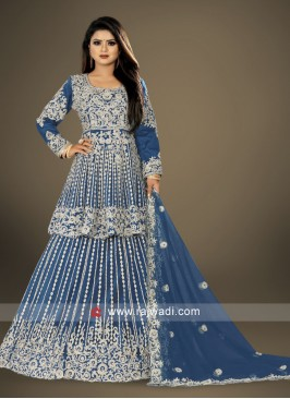 Elegant blue heavy work lehenga choli suit