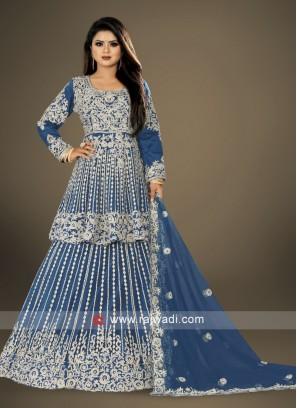 Elegant blue heavy work lehenga choli suit