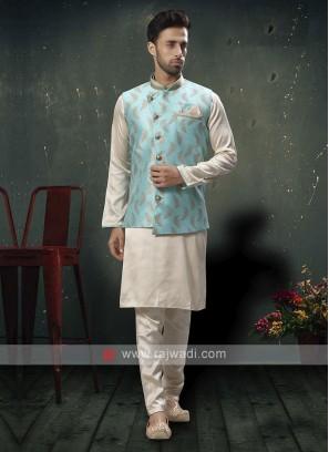 Elegant Cream And Firozi Blue Nehru Jacket