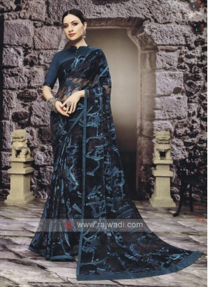 Elegant Dark Peacock Blue Color Saree
