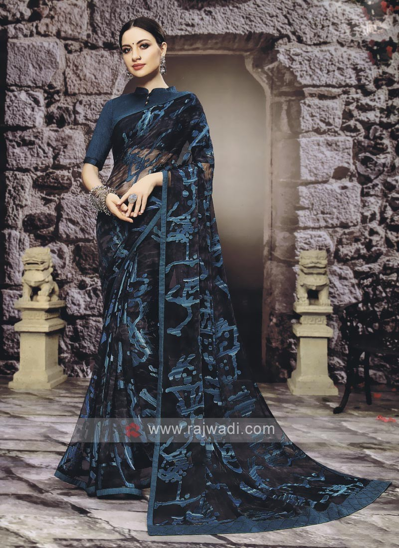 Elegant Dark Peacock Blue Color Saree