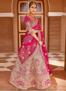 Elegant Embroidered Velvet Pink Bollywood Lehenga Choli