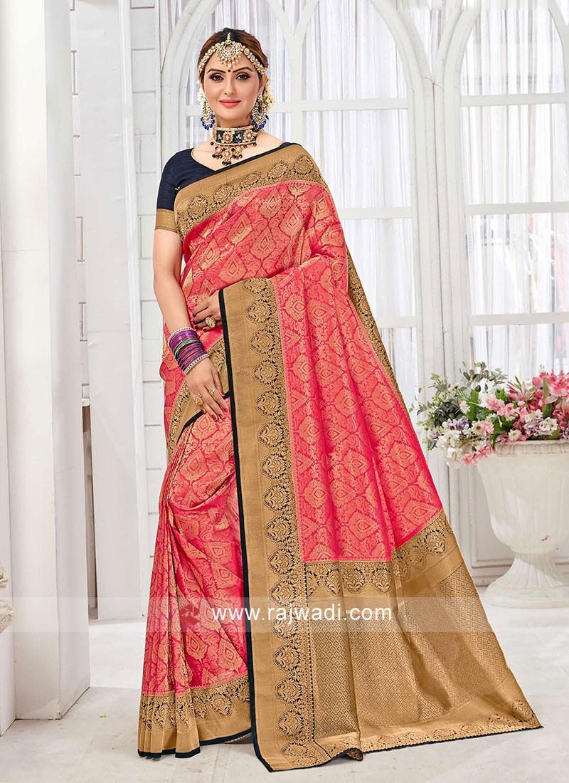 Elegant Gajari Pink And Navy Blue Color Banarasi Silk Saree