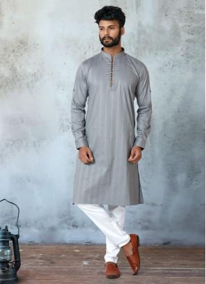 Elegant Grey Color Kurta Pajama