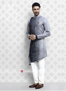 Elegant Grey Pathani Suit