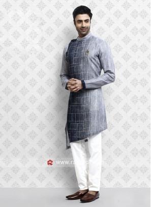 Elegant Grey Pathani Suit