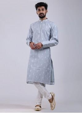 Elegant Kurta Pajama In Grey Color