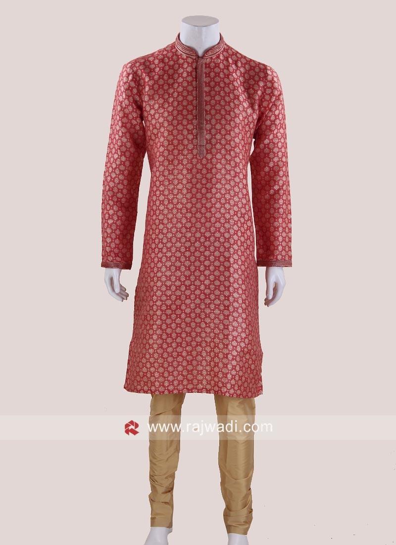 Elegant Maroon Brocade Silk Kurta Pajama