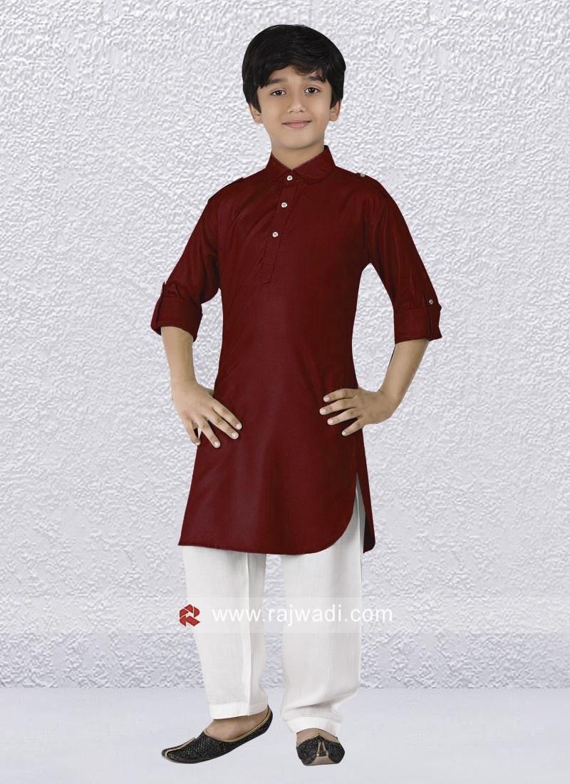 Elegant Maroon Pathani Suit