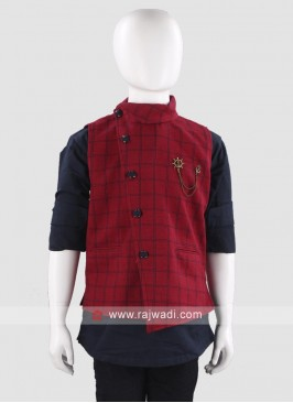 Elegant Maroon Waist Coat For Boys