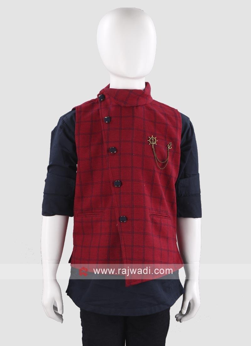 Elegant Maroon Waist Coat For Boys