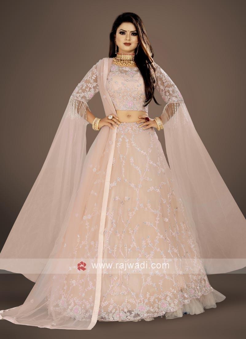 elegant  Misty Rose color lehenga choli suit