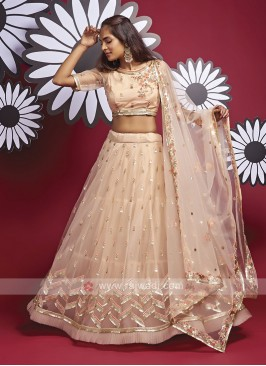 Elegant Net Lehenga Choli In Peach