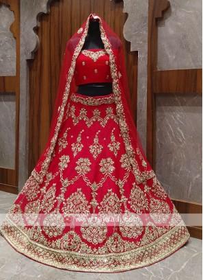 elegant red bridal lehenga choli