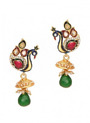 Elegant Red Green Peacock Jhumki Earrings