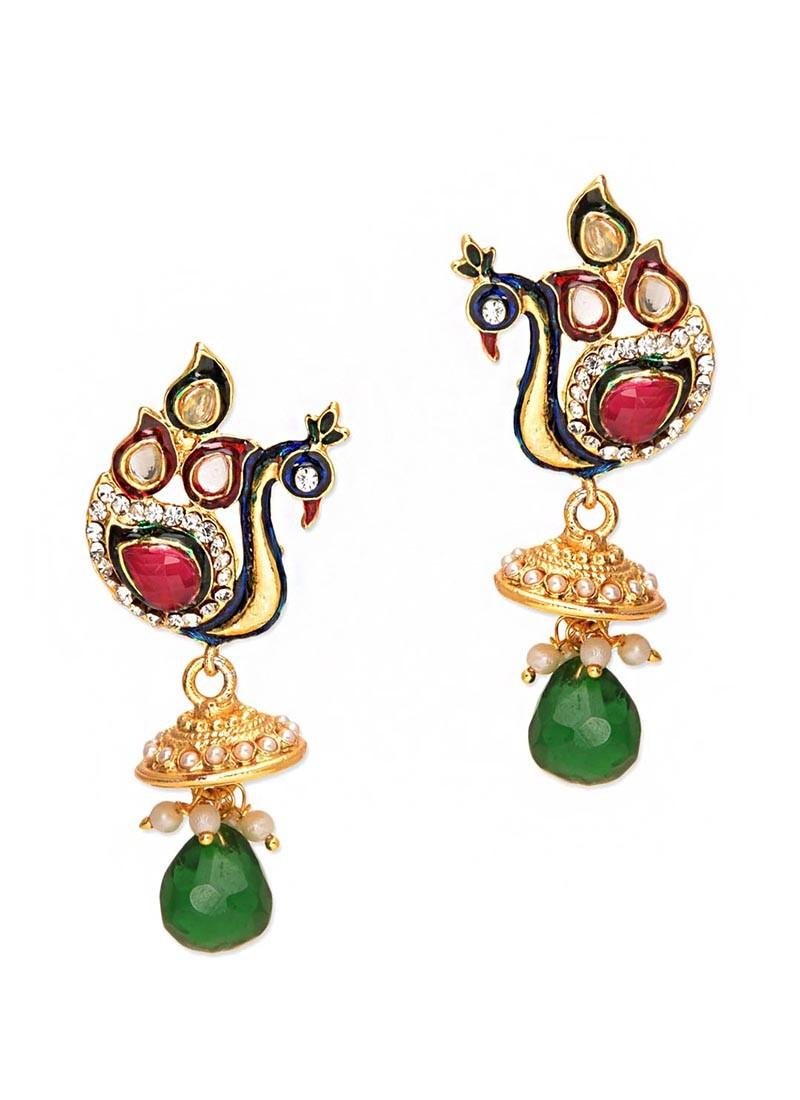 Elegant Red Green Peacock Jhumki Earrings