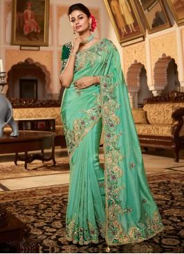Elegant Sea Green Mehndi Designer Traditional Saree