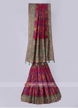 Elegant silk saree in rani color