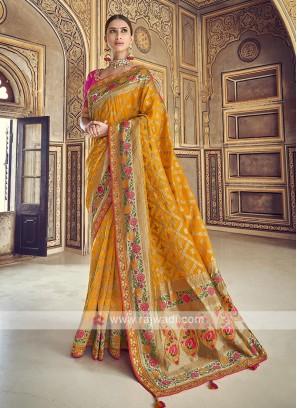 Elegant Yellow Dola Silk Saree