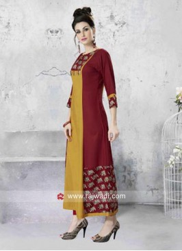 Elephant Block Print Long Kurti