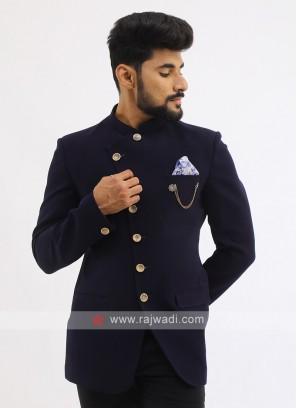 Emboss Blue Jodhpuri Suit