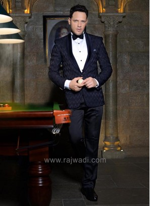 Emboss Fabric Black Color Suit With Matching Trouser
