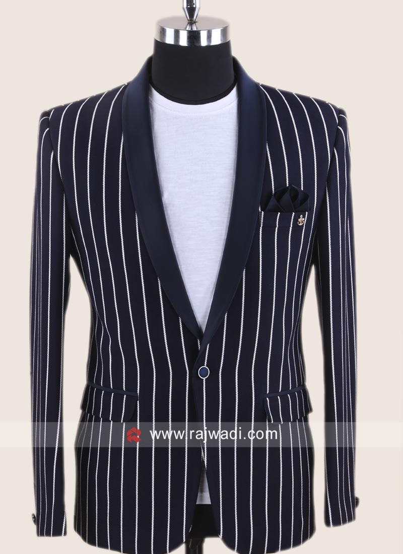 Emboss Fabric Blue Color Blazer