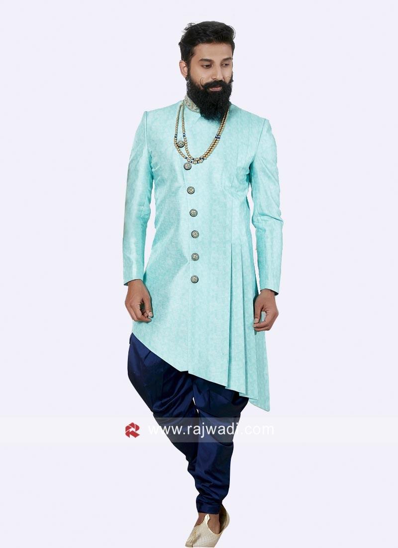 Designer Electric Blue Color Indo Western