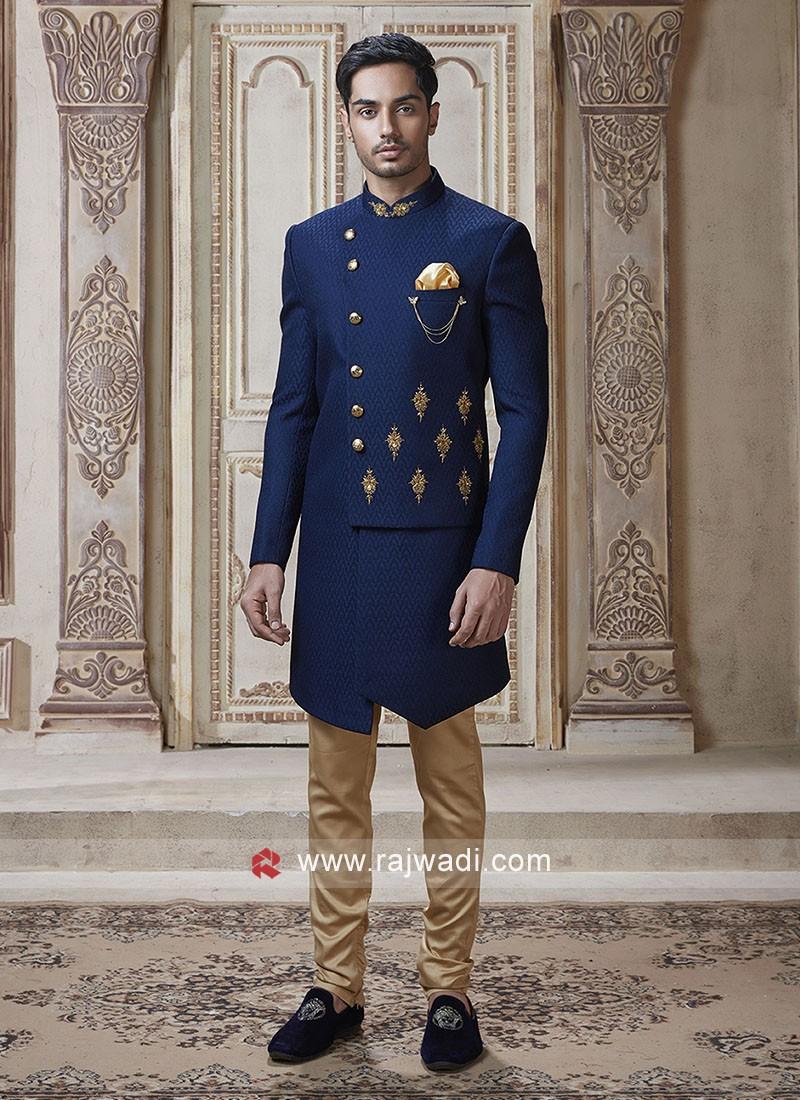 Emboss Fabric Indo Western For Wedding