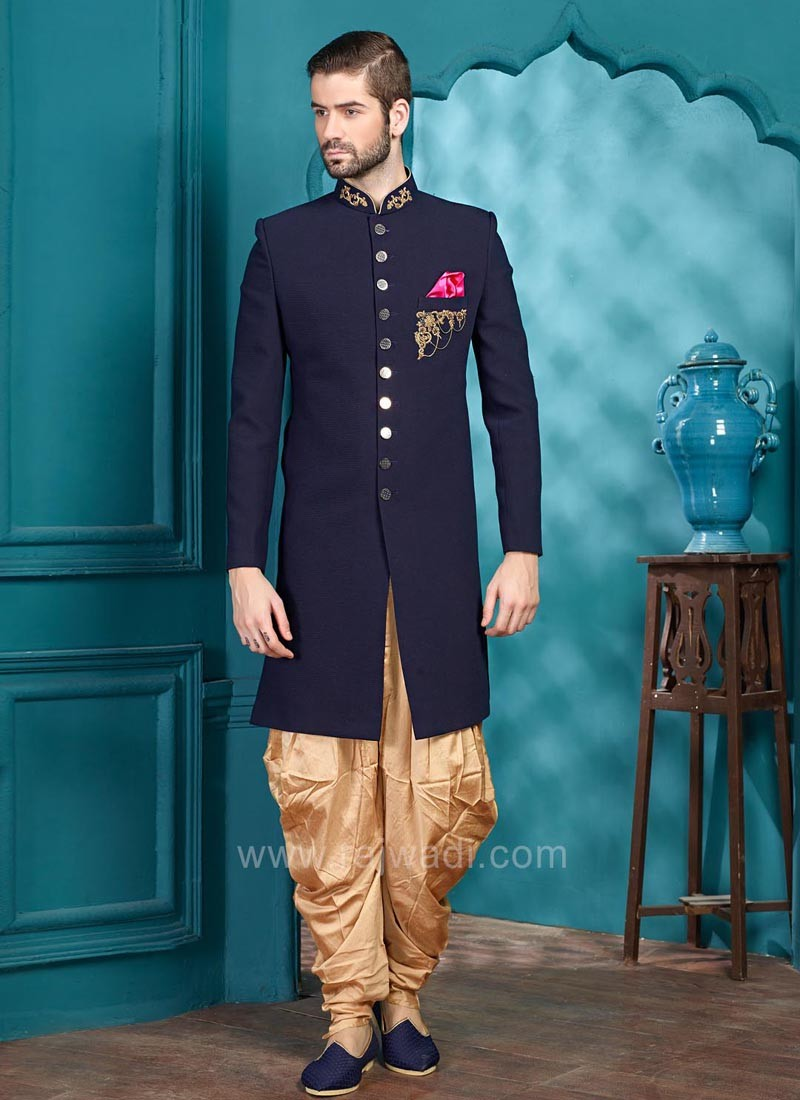 Emboss Fabric Indo Western Sherwani in Navy Color
