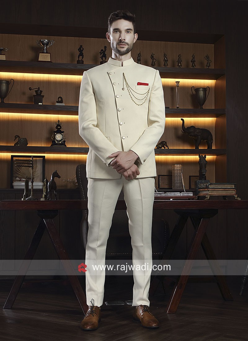 Jute Silk Fabric Party Wear Jodhpuri Suit