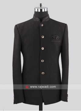 Emboss Fabric Party Wear Jodhpuri Suit