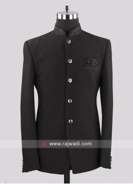 Emboss Fabric Party Wear Jodhpuri Suit