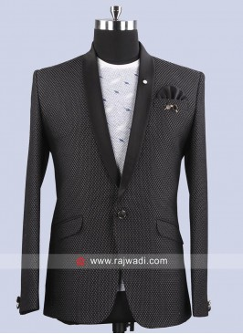 Emboss Fabric Slim Fit Blazer