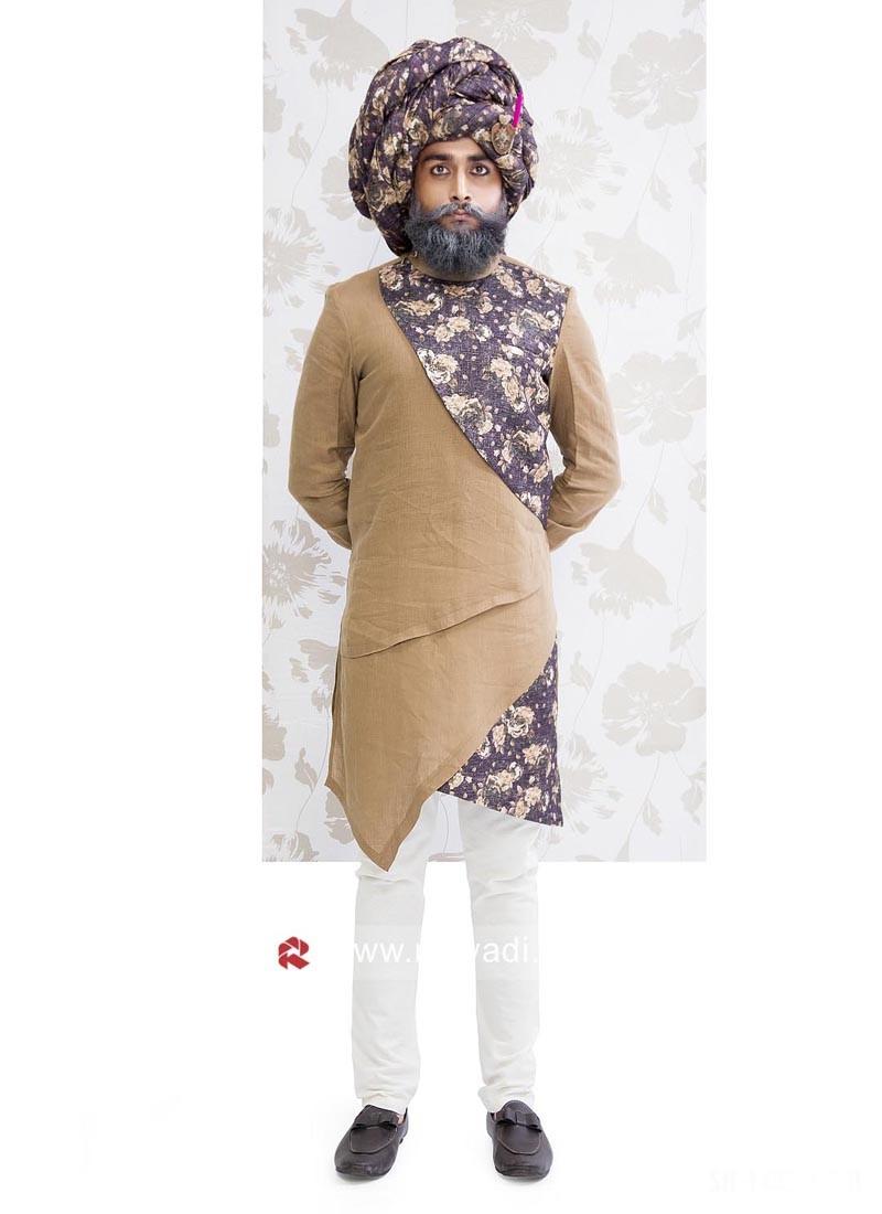 Linen Fabric Dark Faun Color Indo Western