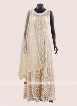 Embroidered Anarkali Dress in Golden Cream