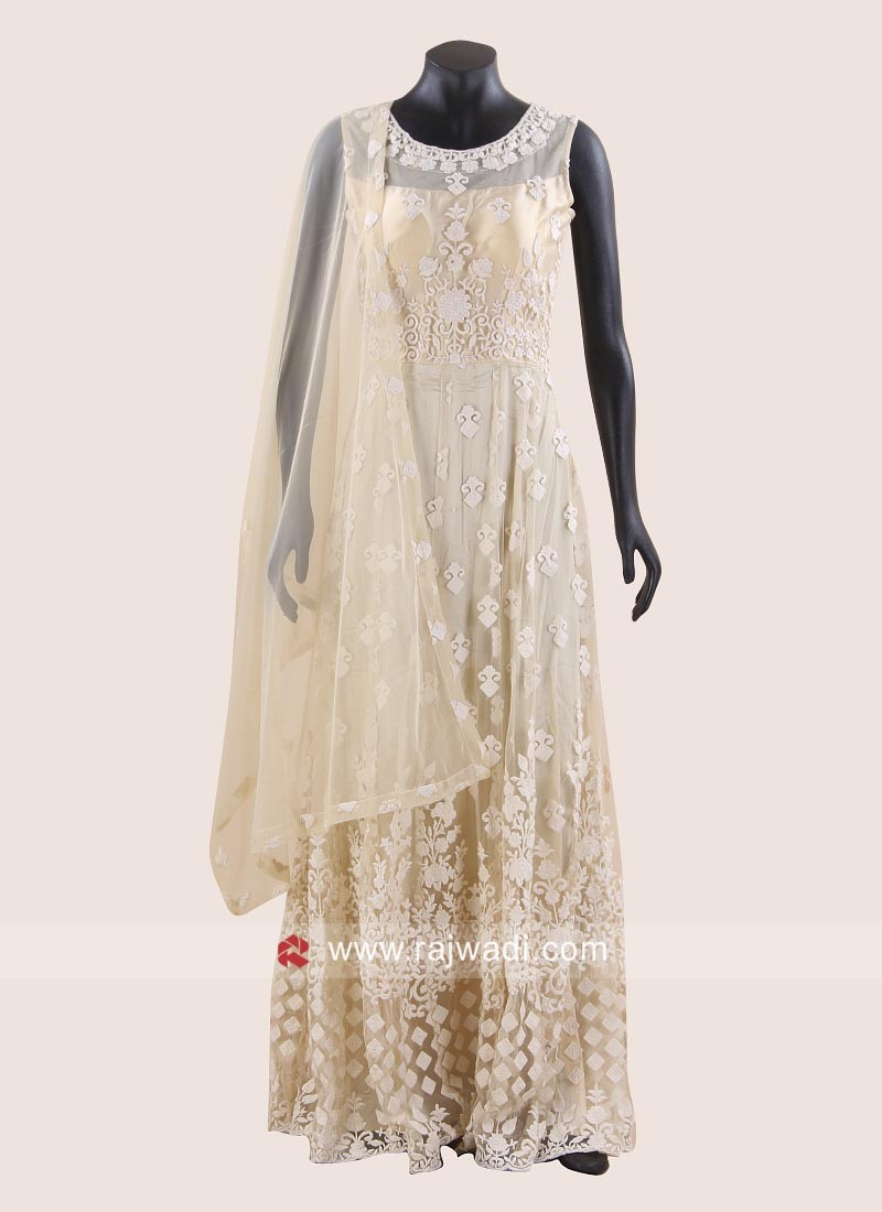Embroidered Anarkali Dress in Golden Cream