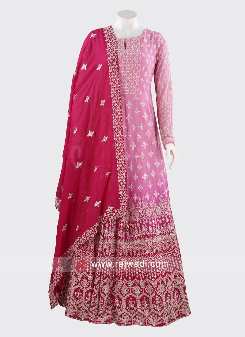 Embroidered Anarkali Dress in Pink
