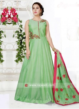 Embroidered Anarkali Dress in Pista Green