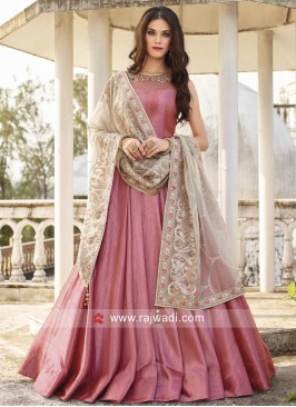 Embroidered Anarkali Dress with Dupatta